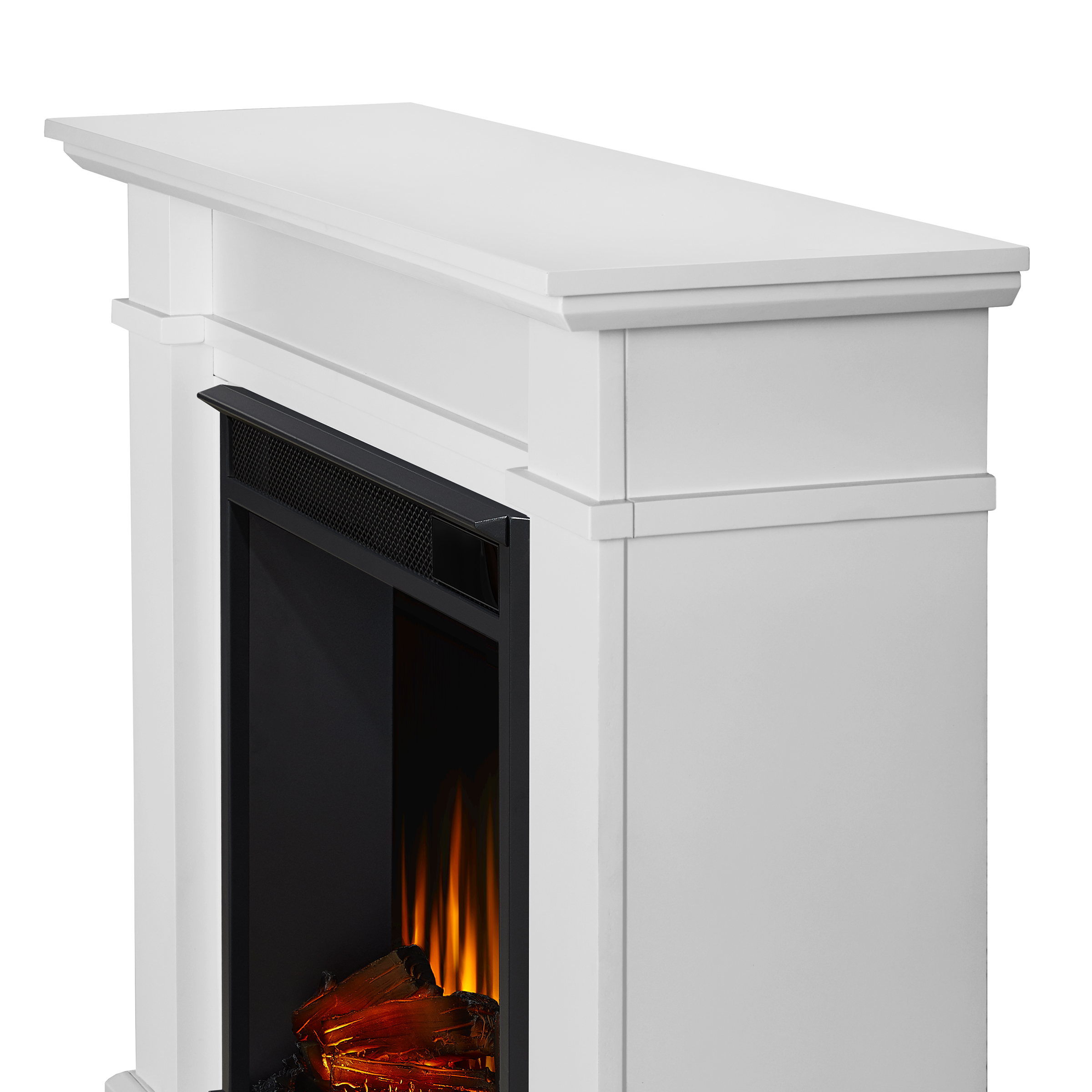White Electric Fireplace Frame Details