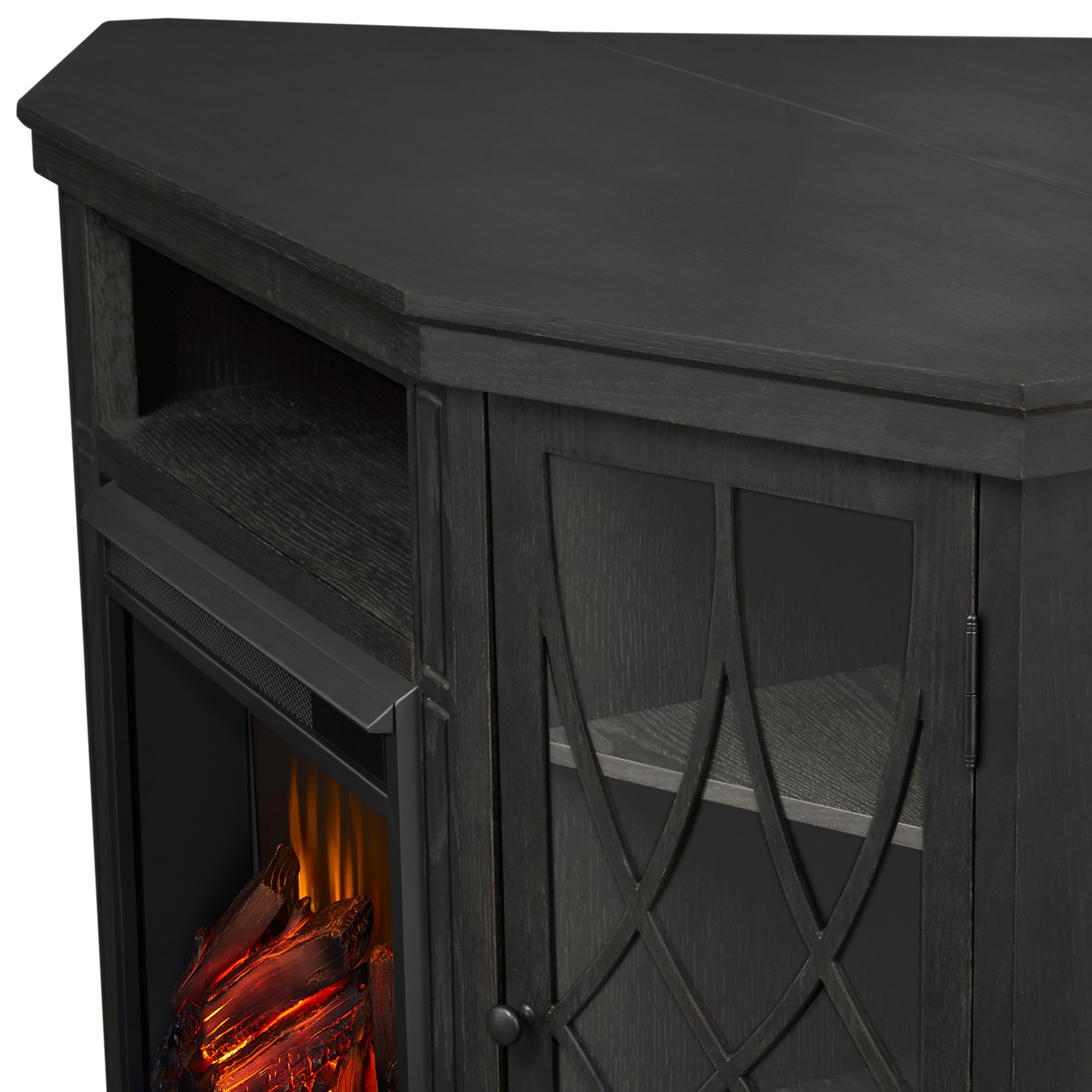Gray Electric Fireplace Frame Details