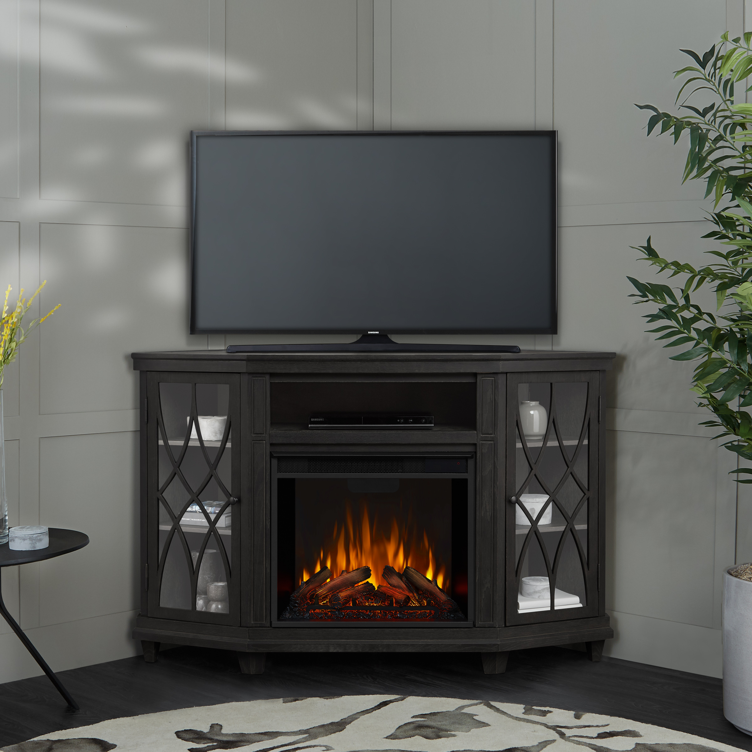 Gray Electric Fireplace