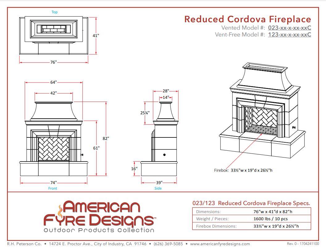 Reduced Cordova Dimensions