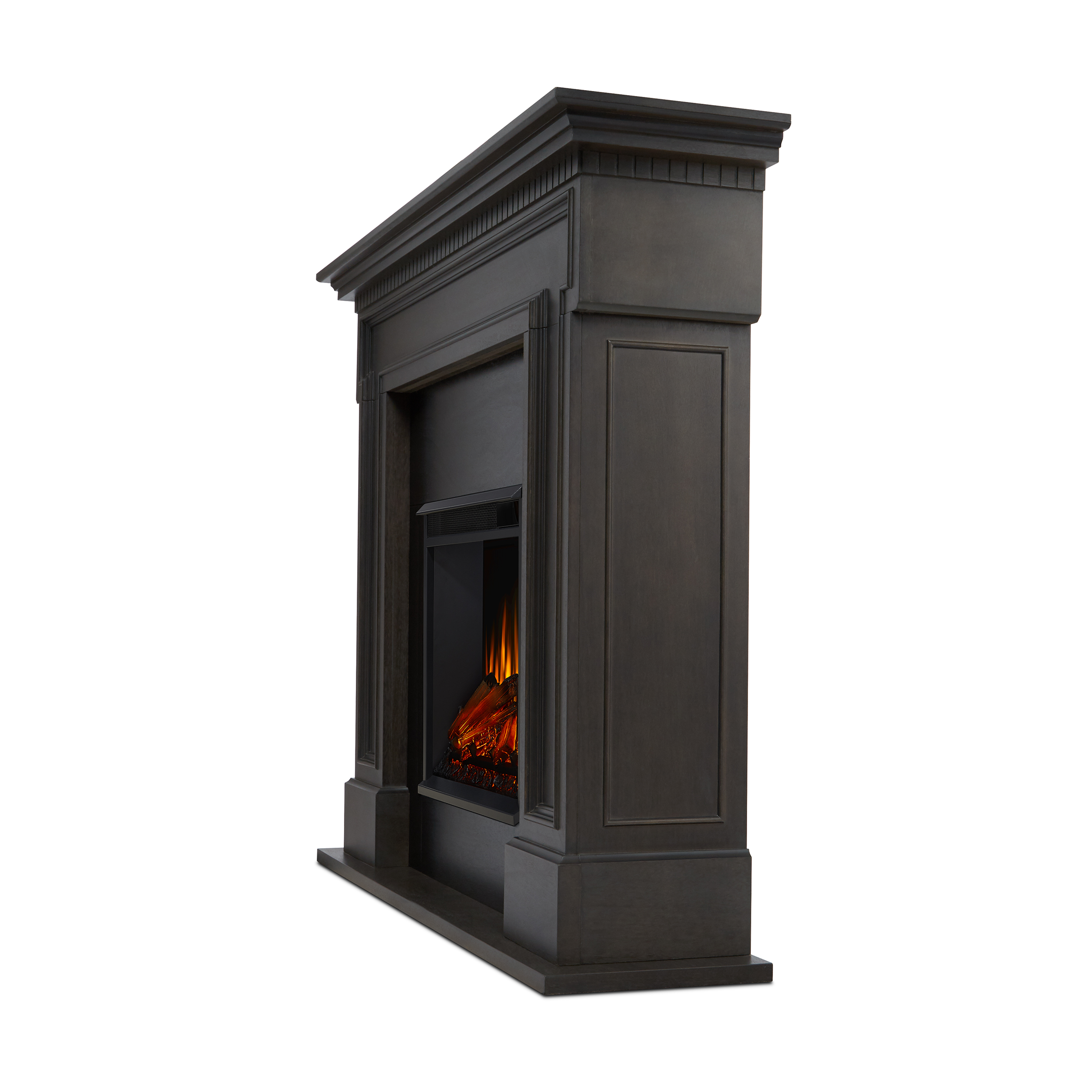 Gray Electric Fireplace Side Angle