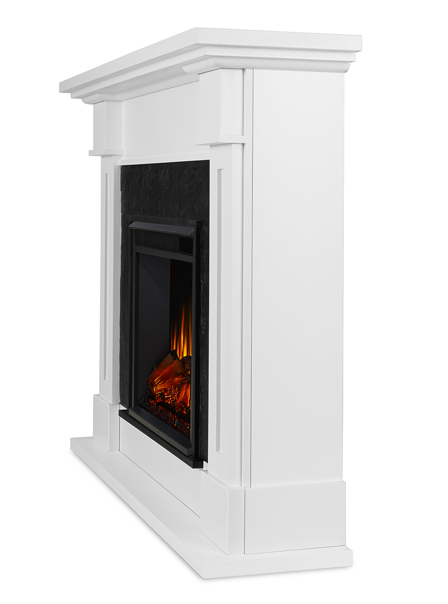 White Electric Fireplace Side Angle