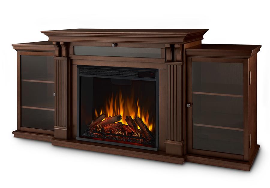 Espresso Electric Fireplace Angle