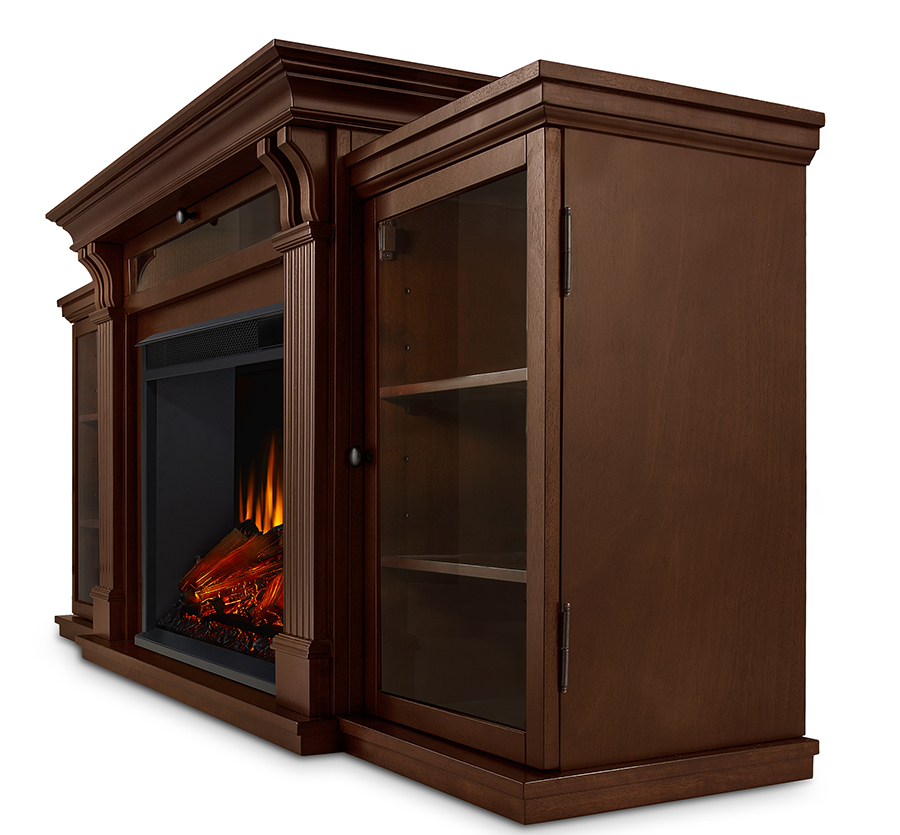 Espresso Electric Fireplace Side Angle