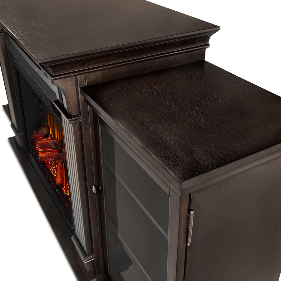 Dark Walnut Electric Fireplace Frame Details