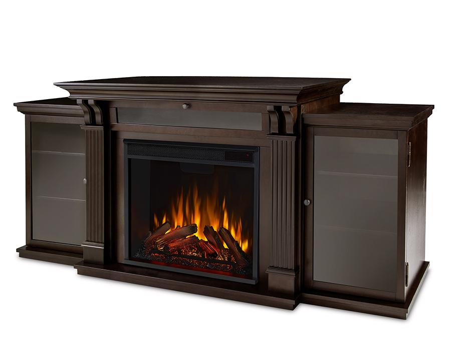 Dark Walnut Electric Fireplace Angle