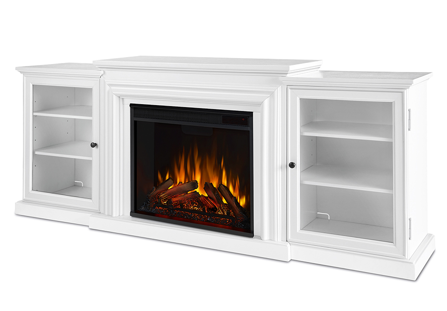 White Electric Fireplace Angle