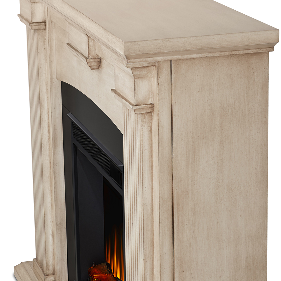 Dry Brush White Electric Fireplace Frame Details