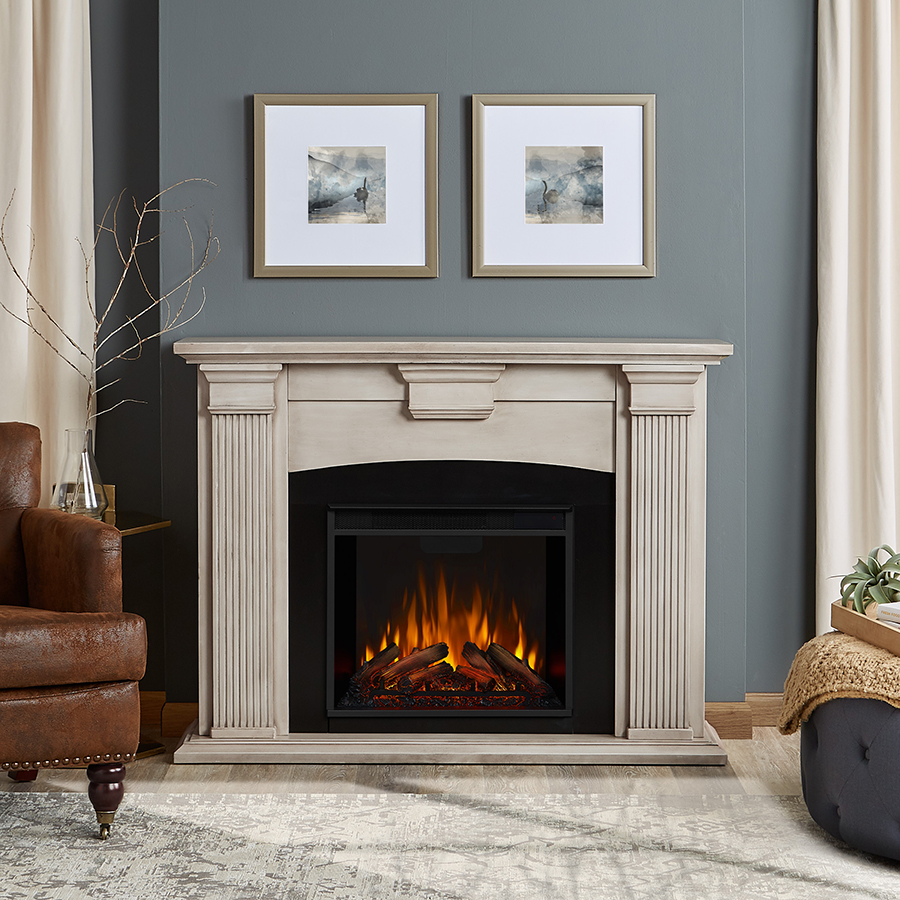 Dry Brush White Electric Fireplace