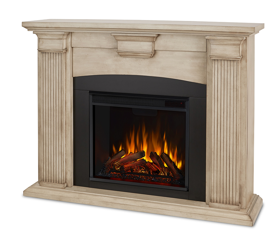Dry Brush White Electric Fireplace Angle