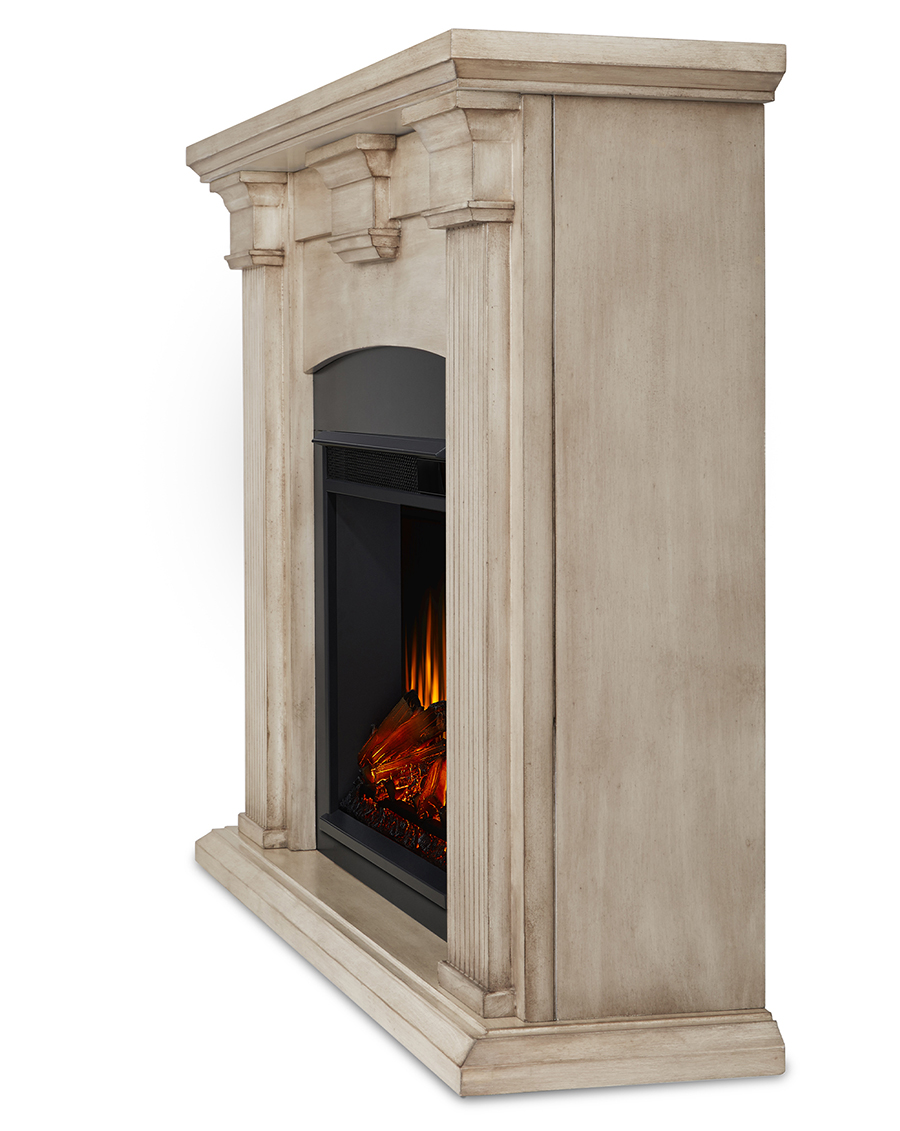 Dry Brush White Electric Fireplace Side Angle
