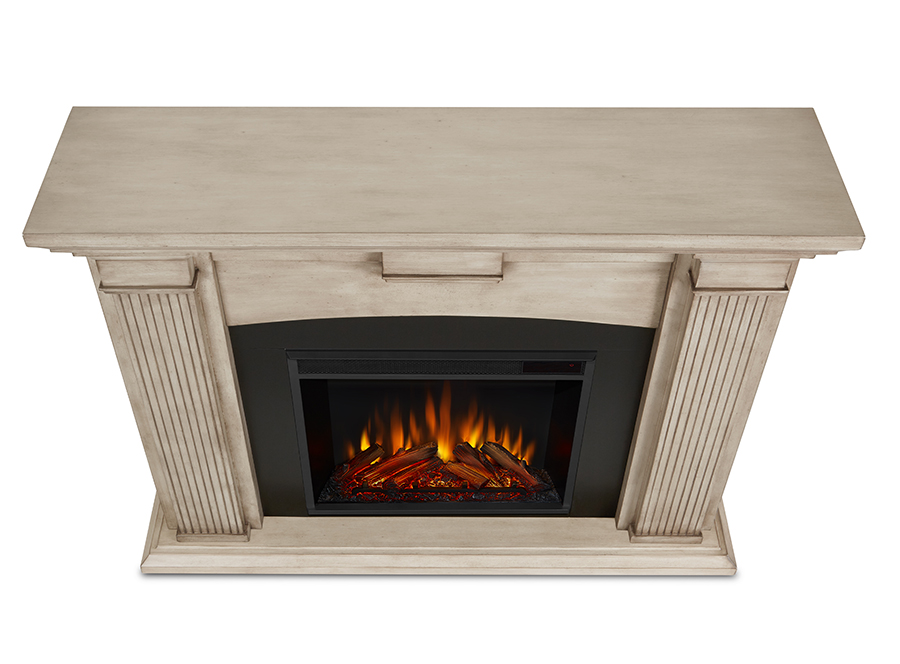 Dry Brush White Electric Fireplace Top