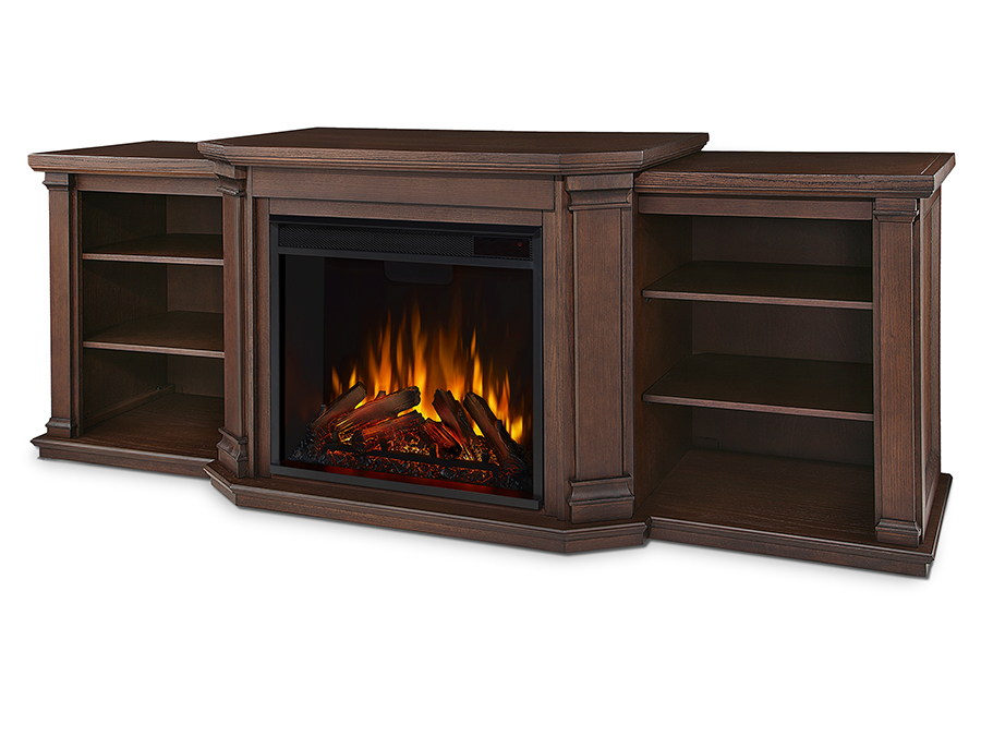 Chestnut Oak Electric Fireplace Angle