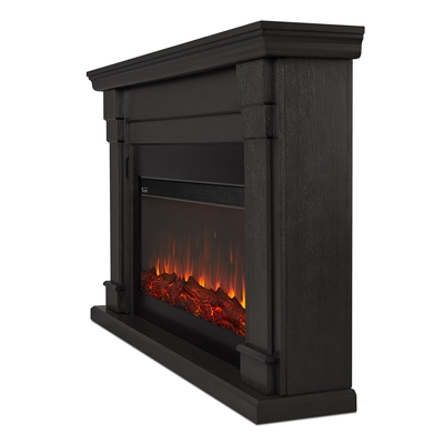 Gray Electric Fireplace Angle