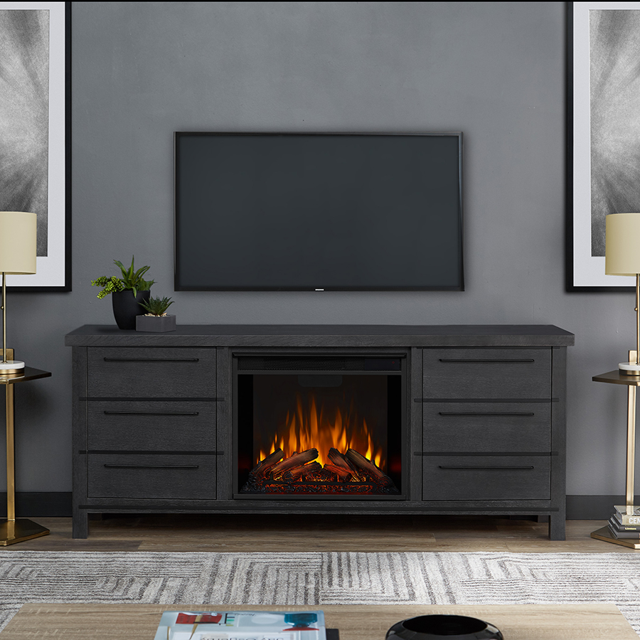 Antique Gray Electric Fireplace