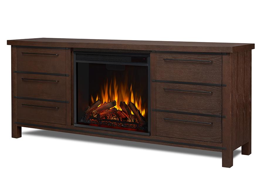 Chestnut Oak Electric Fireplace Angle