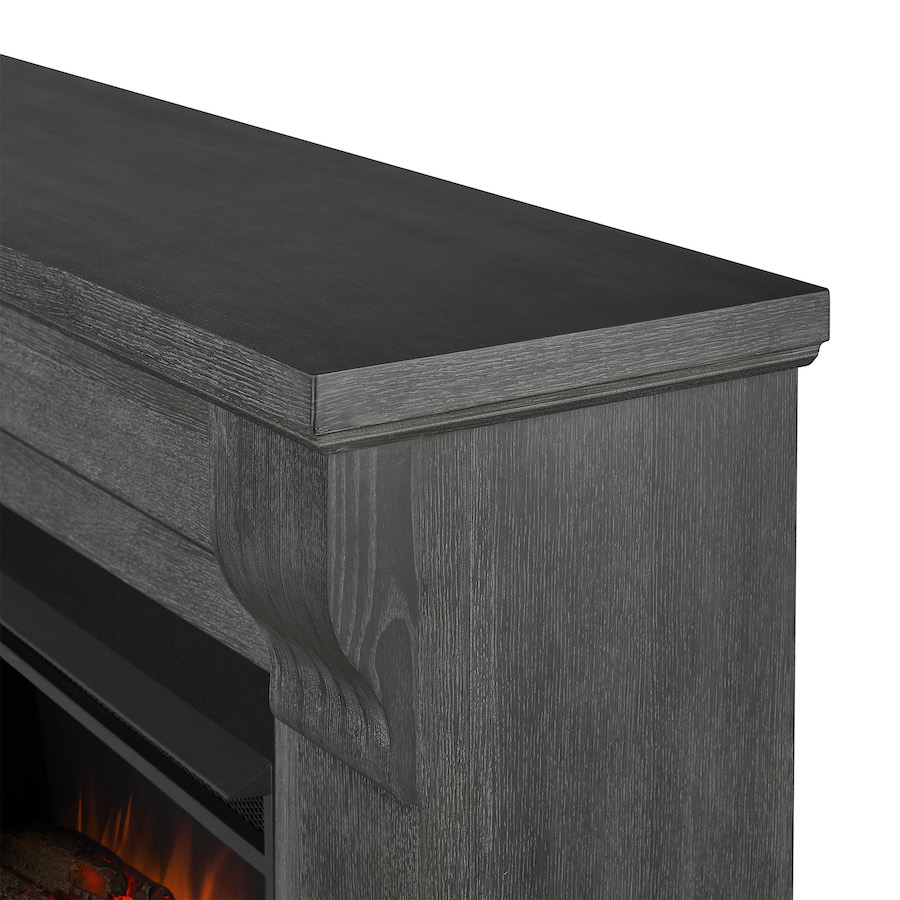 Antique Gray Electric Fireplace Frame Details