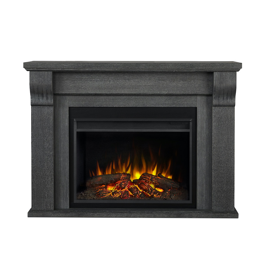 Antique Gray Electric Fireplace Front