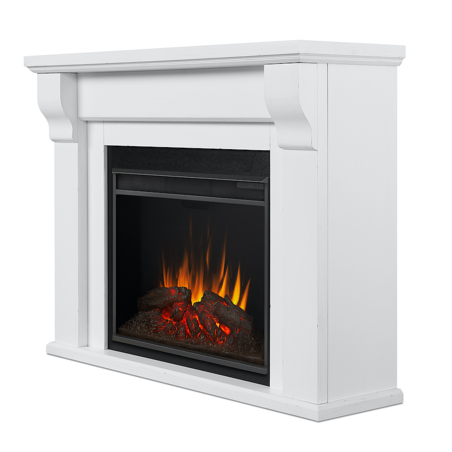 Rustic White Electric Fireplace Side Angle