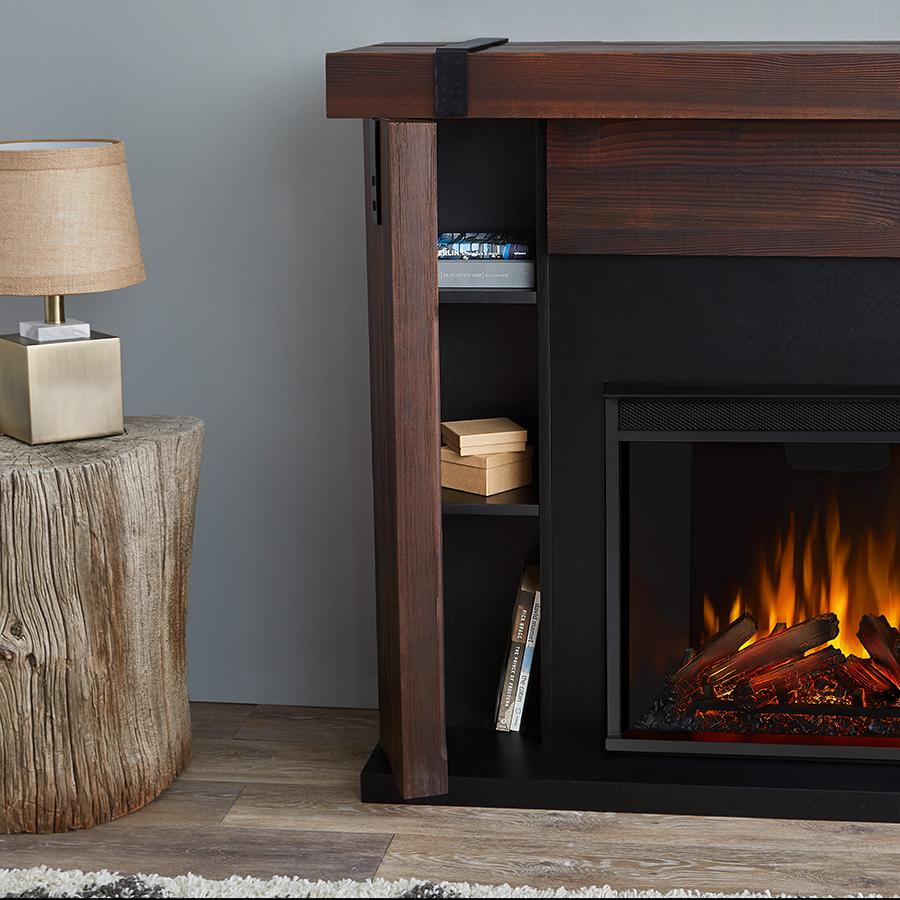 Chestnut Barnwood Electric Fireplace Frame Details