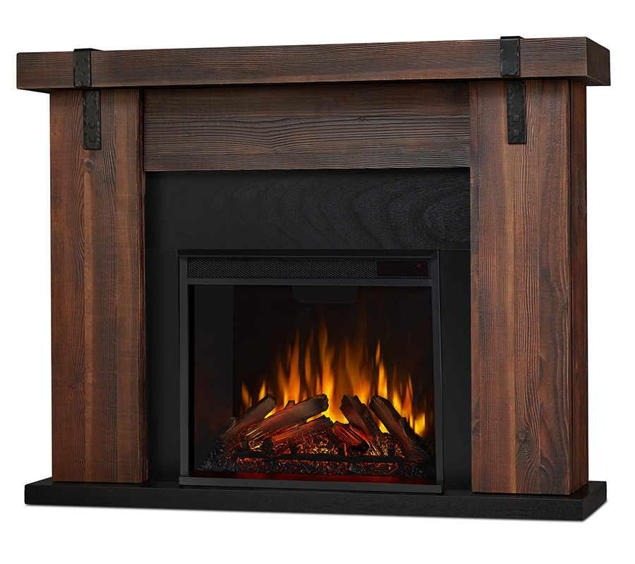 Chestnut Barnwood Electric Fireplace Angle