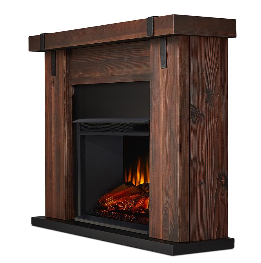 Chestnut Barnwood Electric Fireplace Side Angle