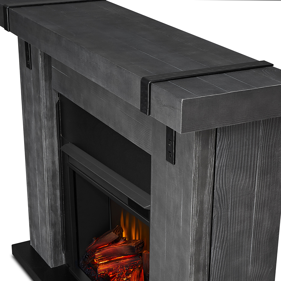Gray Barnwood Electric Fireplace Frame Details