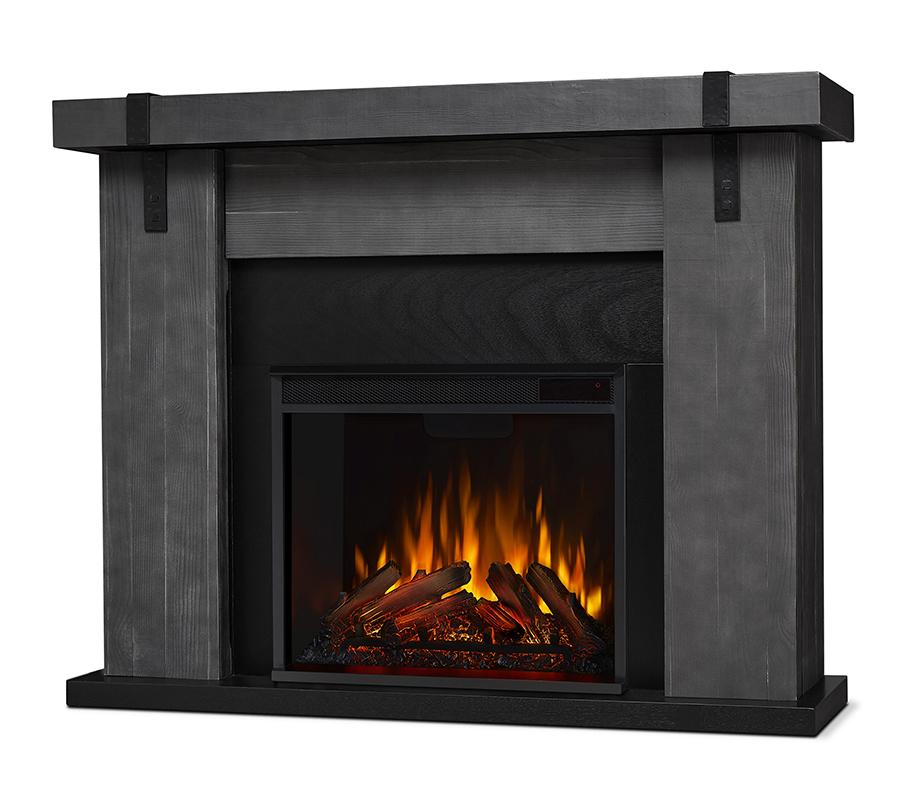 Gray Barnwood Electric Fireplace Angle