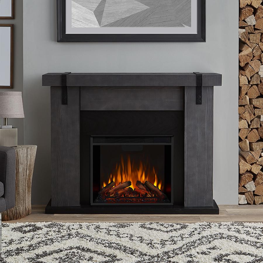 Gray Barnwood Electric Fireplace