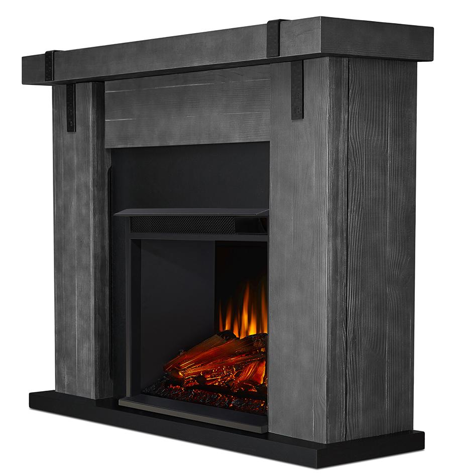 Gray Barnwood Electric Fireplace Side Angle
