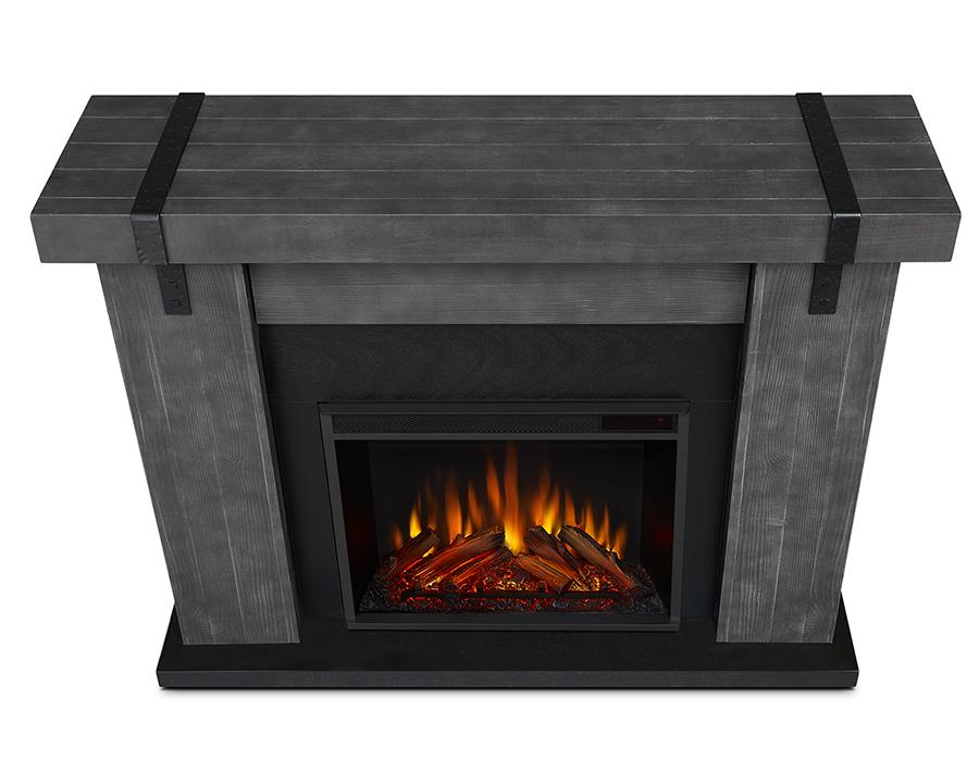 Gray Barnwood Electric Fireplace Top