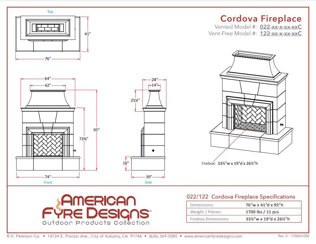 Cordova Dimensions