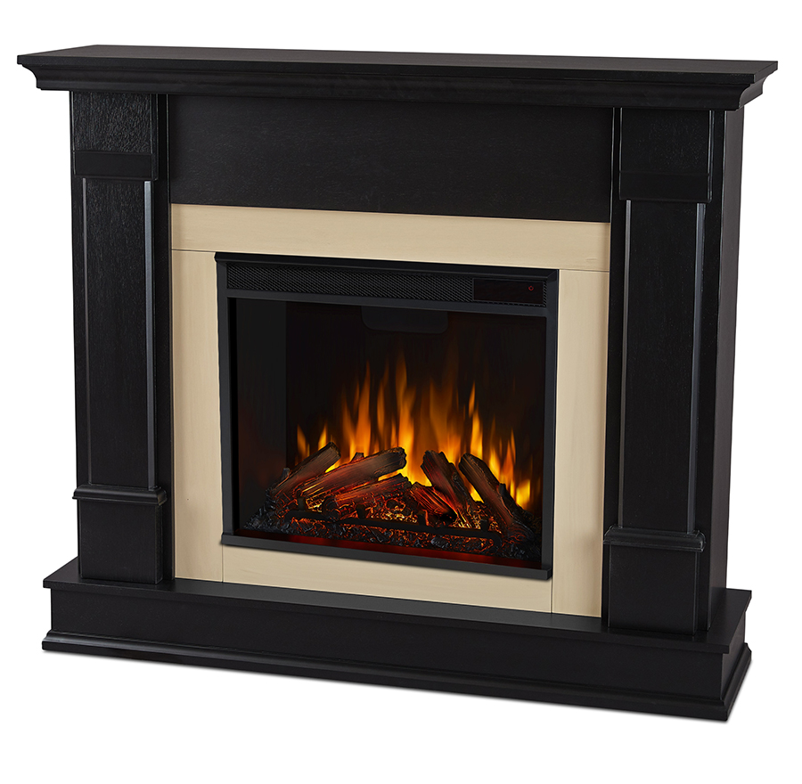 Black Electric Fireplace Angle