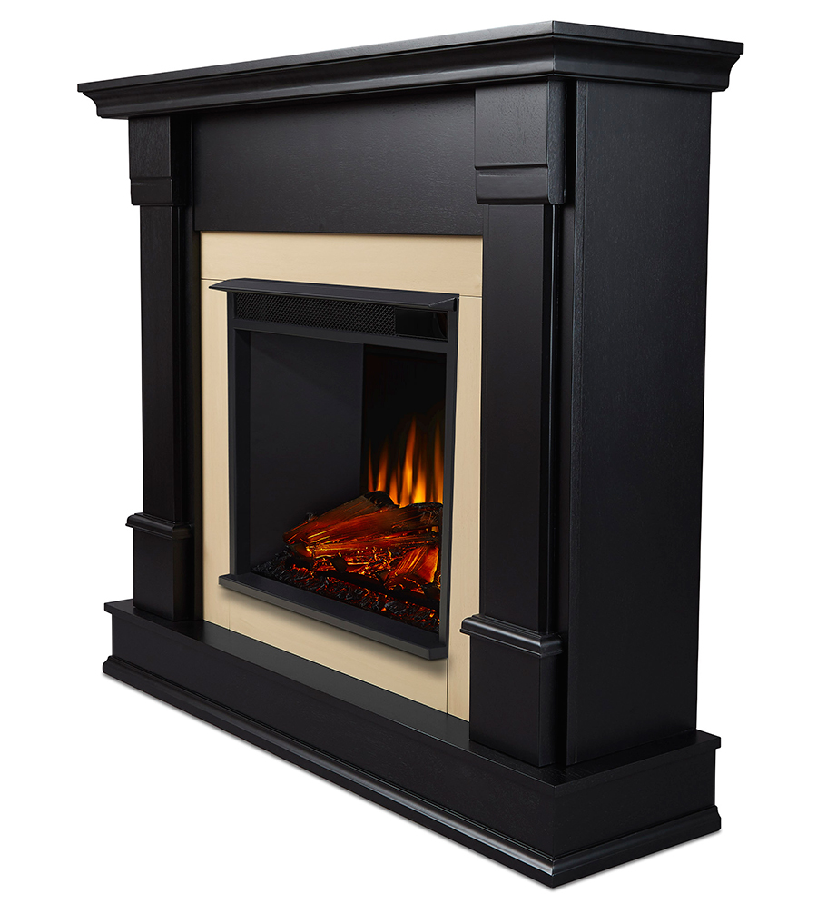 Black Electric Fireplace Side Angle