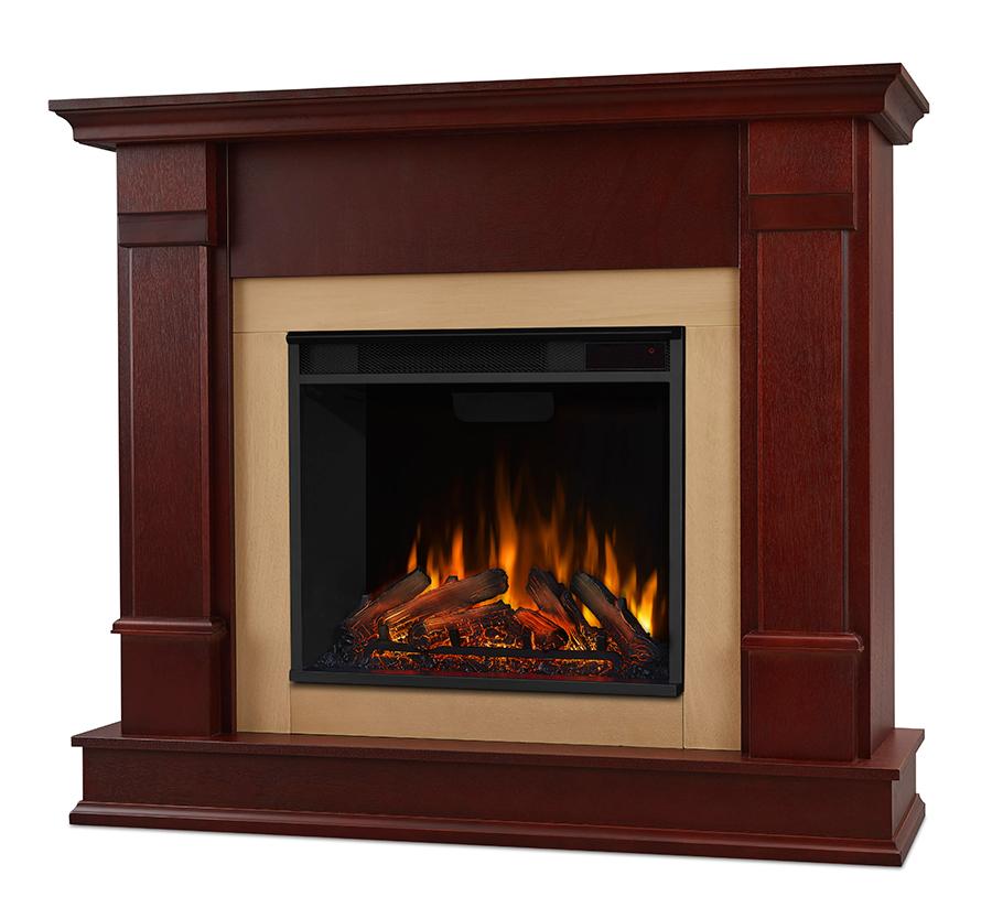 Dark Mahogany Electric Fireplace Angle