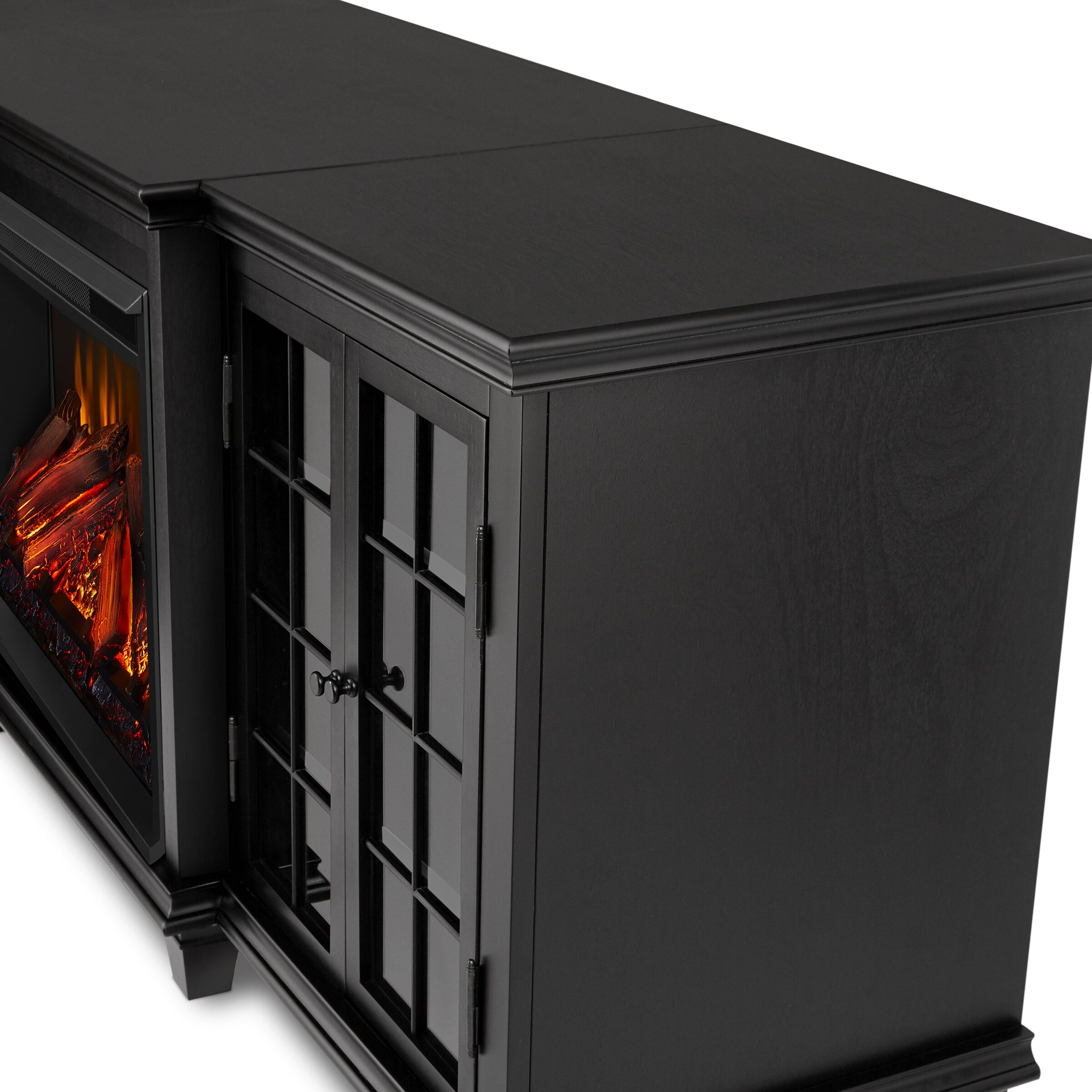 Black Electric Fireplace Frame Details