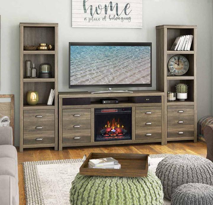 Fireplace W/2 Piers & Bluetooth Speaker